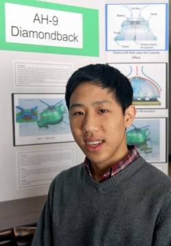 Ethan Chu, Indiana teen, wins Igor Sikorsky Youth Innovator Award for his conceptual design of a circular-shaped environmentally friendly helicopter.