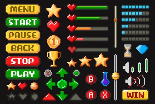 Pixel game screen element set on black